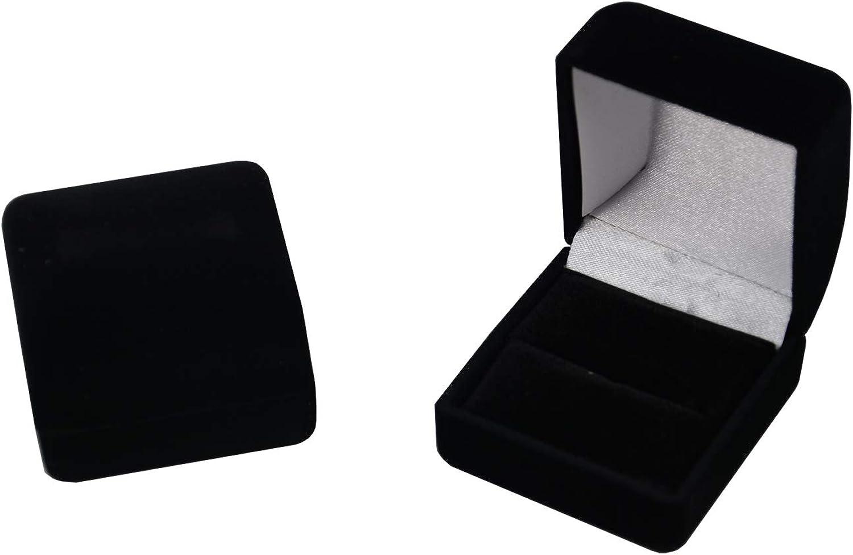 boxdisplays Lot de 12 bo/îtes de Rangement pour bagues en Velours Noir pour Bijoux