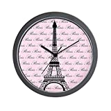 Cheap CafePress – Pink And Black Paris Eiffel Tower – Unique Decorative 10″ Wall Clock