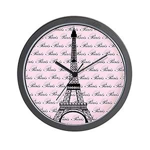 "CafePress - Pink and Black Paris Eiffel Tower Wall Clock - Unique Decorative 10"" Wall Clock"