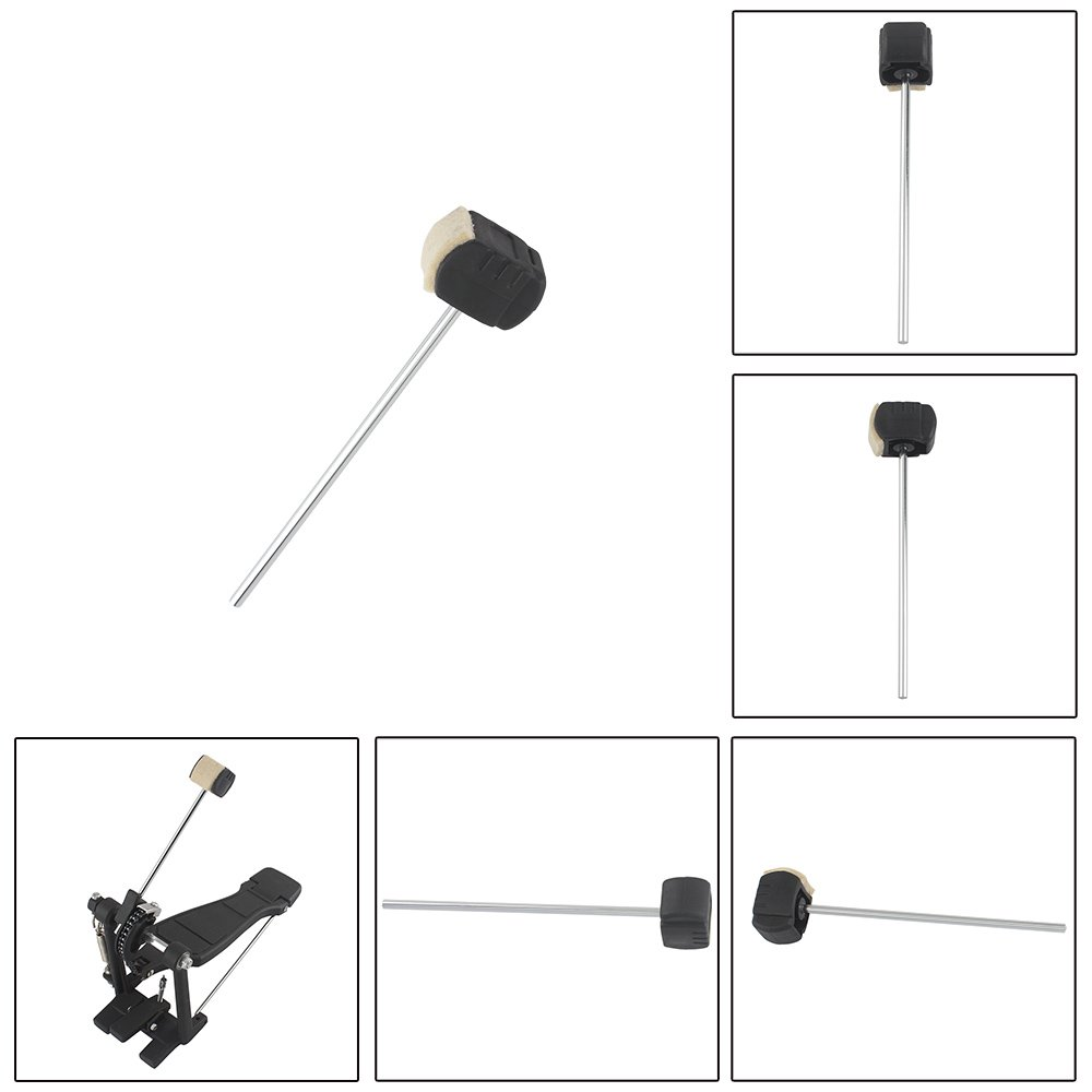 Andoer High-quality Bass Drum Pedal Beater Wool Felt Stainless Steel Handle Percussion Instrument Accessories Parts drum beater