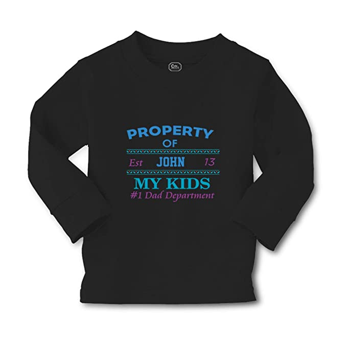 16993ff2f Personalized Custom Property of My Kids Dad Department Long Sleeve Crewneck Toddler  Boys-Girls Cotton