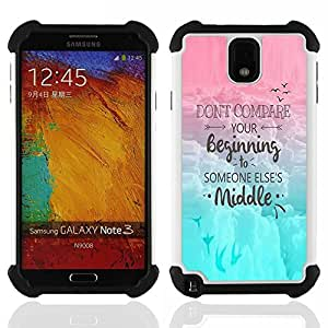 For Samsung Galaxy Note3 N9000 N9008V N9009 - Comparison Yourself Others Motivation Quote /[Hybrid 3 en 1 Impacto resistente a prueba de golpes de protecci????n] de silicona y pl????stico Def/ - Super Ma