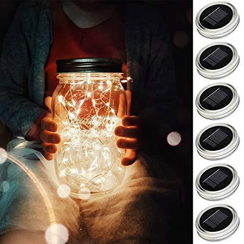 Solar Mason Jar Lid Lights[updated], 6 Pack 15 Led String Fairy Star Firefly Jar Lids Lights (Jars and Handle Not Included), for Mason Jar Patio Garden Wedding Lantern Table Decoration (Warm White) ()