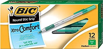 Amazon.com : BIC Round Stic Grip Xtra Comfort Ball Pen, Medium ...