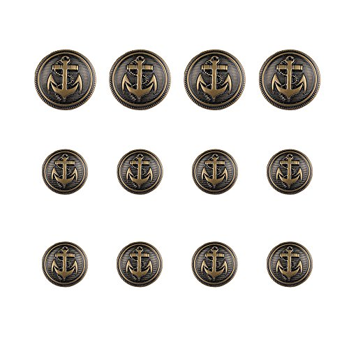 12 Pieces Antique Anchor Metal Blazer Button Set - Stylish Buttons For Suits, Sport Coat, Jacket and Jeans (Bronzy)