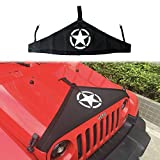 cartaoo Front Hood Cover Bra Cover T-Style Protector Kit for Jeep Wrangler JK 2007-2017 Black (5-Star Sytle)