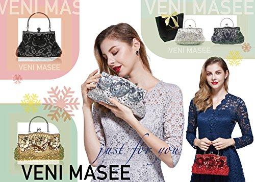 Various Colors Bead MASEE Antique Leaf Clutch VENI Collection Clutch Bead Ideas Gift Bag Seed Seed Sequin Floral Sequined Soft Evening Exquisite Evening Handbag qBXFx14w