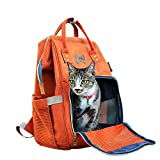 Dreamsoule Portable Pet Backpack Carry Bag for Cats Dogs Pet Travel Carriers with Breathable Mesh Window - Orange