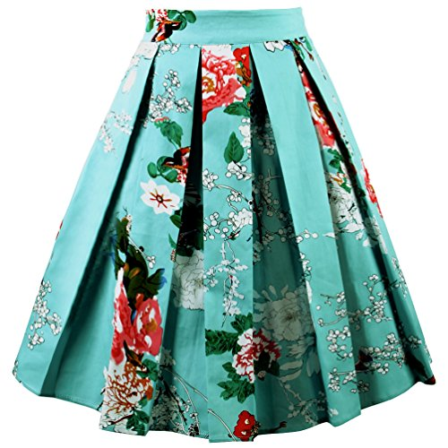 Dressever Women's Vintage A-line Printed Pleated Flared Midi Skirts Bird-Flower X-small