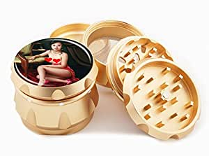 "Asian Girl Design Premium Grade Aluminum Tobacco,Herb Grinder -4Pcs Large (2.5"" Gold) # GLD-G121114-0024"