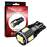 Yorkim 7th Generation Newest, 194 LED Light bulb, Interior Lights for W5W 194 168 2825 T10 Wedge 6-smd 5730, Replacement and Reverse T10 White Bulbs(Pack of 10)- White