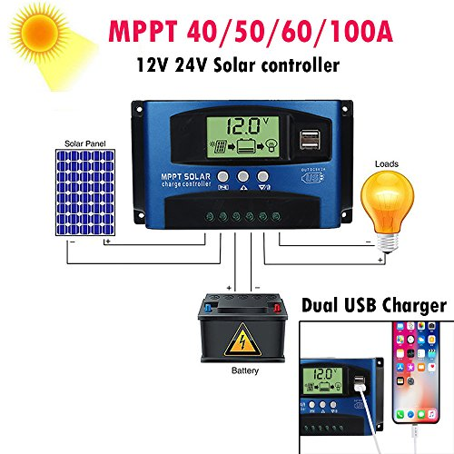 Fullfun Solar Panels Battery Charge Controller, 40/50/60/100A MPPT Solar Panel Regulator Charge Controller 12V/24V (100A)