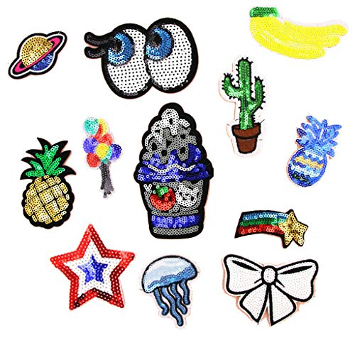 12pcs Fashion Embroidered Glitter Sequins Sew Iron on Applique Patches Set