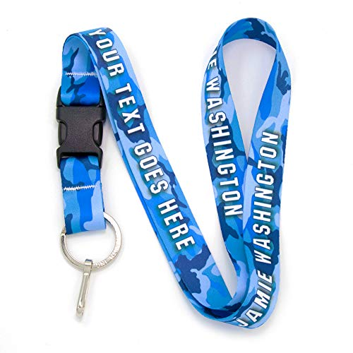 Buttonsmith Blue Camo Custom Lanyard - Customize with Your Text - Buckle and Flat Ring - Made in The USA -