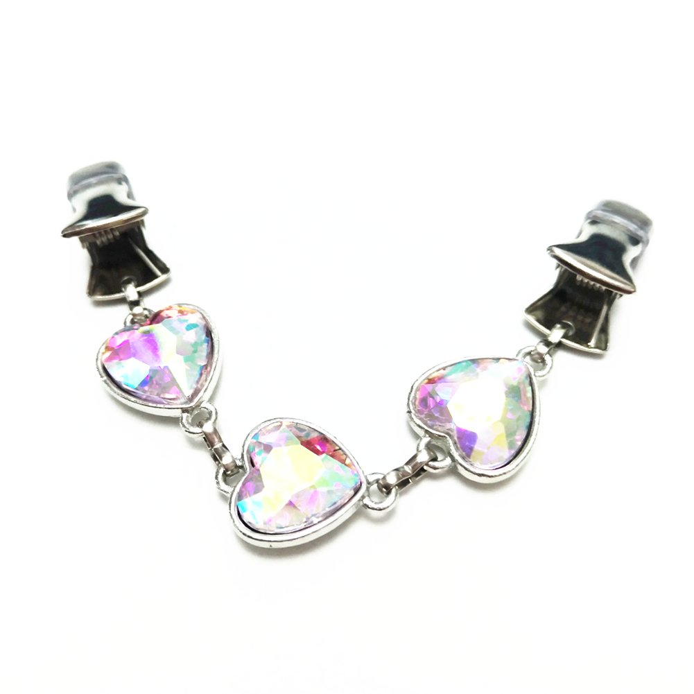 Ever Cute Colorful Crystal Heart Shawl Cardigan Clip Sweater Closure Guard-Short by Ever Cute (Image #1)