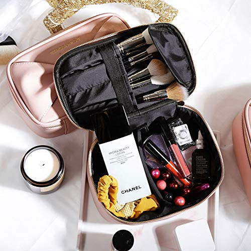 Pink Makeup Brushes Organizer Bag Travel Portable Cosmetic Case with Adjustable Compartments for Travelling(9x5x3.7