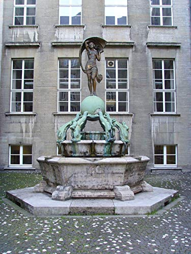 "Photography Poster - Fountain, City Hall, Bochum, German, 24""x18.5"", Gloss Finish"