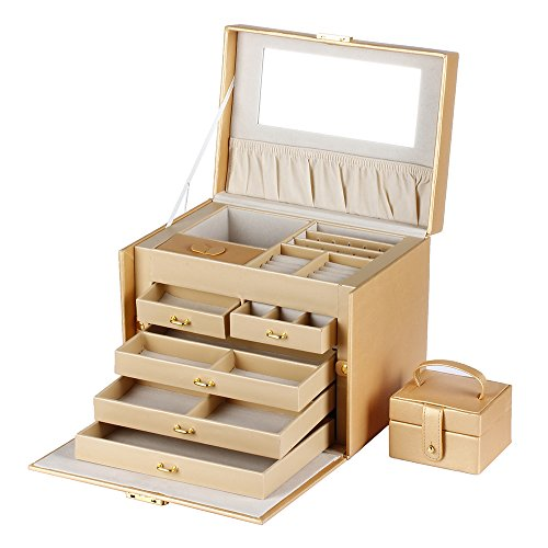 Garden Design Key Holder - Flexzion Jewelry Organizer Box (Gold Pattern) - Portable Leather Jewelry Display Storage Holder Case Cabinet With Removable Travel Case, Lock & Key, Mirror for Rings Necklace Bracelets Earrings Watch