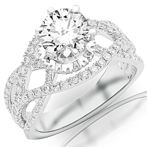 [2.75 Carat Platinum Eternity Love Twisting Split Shank Pave-set Round Diamond Ring with a 2 Carat Moissanite Center] (Si2 Round Diamond Eternity Ring)