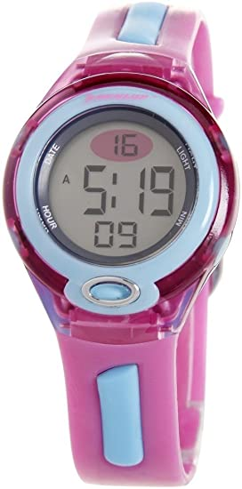 Dunlop DGAME3 - Reloj digital de mujer de cuarzo con correa de goma rosa (luz