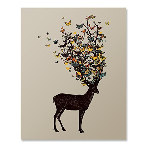 Colorful Deer Antlers Butterfly Art Print Beautiful Animal Flying Insect Nature Wall Poster Wildlife Woodland Illustration Home Decor 8 x 10 (Insect Wall Decor)