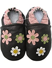 Carozoo 3 Flowers Dark Brown Baby Soft Sole Leather Shoes Boys Infant Kids