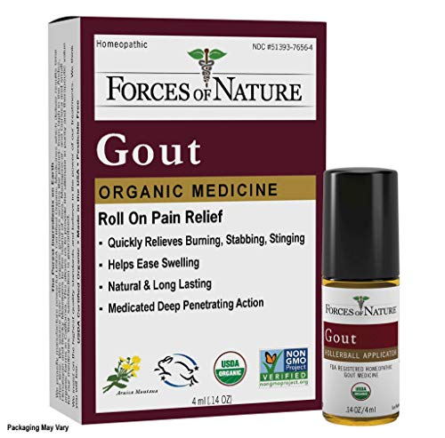 Forces of Nature - Natural, Organic Gout Relief (4ml) Non GMO, No Harmful Chemicals -Fast Acting Relief for Inflammation, Discomfort, Burning Pain Caused by Gout in the Toes, Feet, Hands and Joints