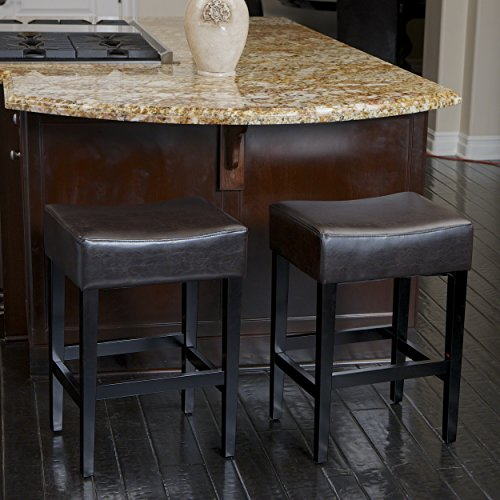 Duff Backless Brown Leather Counter Stools Set of 2