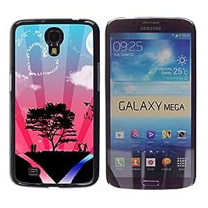 Qstar Arte & diseño plástico duro Fundas Cover Cubre Hard Case Cover para Samsung Galaxy Mega 6.3 / I9200 / SGH-i527 ( Tree Love Couple Heart Sky Nature Romance)