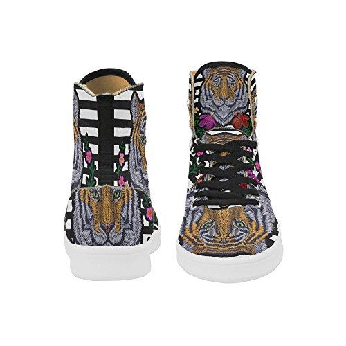 D-etasjers Tilpassede Sko Grunge Usa Flagg Høy Topp Retro Kvinners Sneaker Multicoloured8