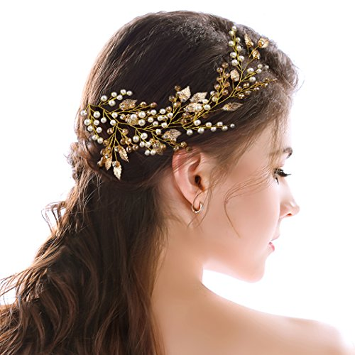 Tiny Vine (Yean Gold Wedding Headband Leaf Rhinestones Tiara Bridal Hair Vine Wreath)