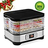 Razorri DDA250 Food Dehydrator Machine, Digital Time and Temperature Control, Timer Automatic Shut Off, 5-Layer Stackable & Height Adjustable Countertop Food Dryer with Quick Heating Circulation System