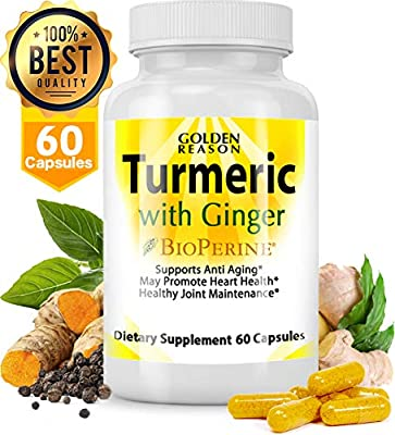 Turmeric Curcumin with Ginger  Anti Aging Support  Joint Support  Promotes  Natural Weight Loss and Heart Health, with Bioperine (Black Pepper) Veggie