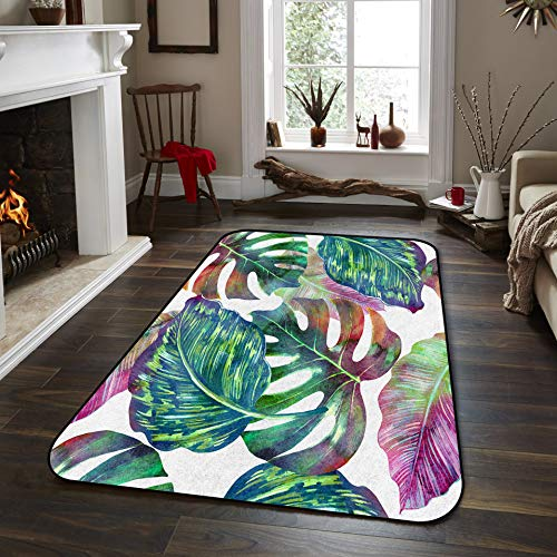 Fantasy Star Non-Slip Area Rugs Room Mat- Tropical Lalm Leaves Wallpaper Home Decor Floor Carpet for High Traffic Areas Modern Rug Kitchen Mats Living Room Pads, 5' x 8' - Euro Plaid Pad