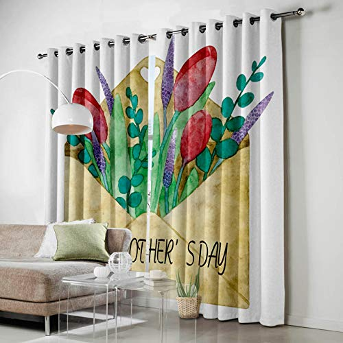 Antimicrobial Window Envelope (HomeCreator Window Blackout Curtains Red Tulip Love in The Envelope Curtains Darkening Thermal Insulated Curtains for Living Room Bedroom Window Drapes Set of 2 Panels-52 x72)