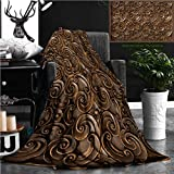 """Nalagoo Unique Custom Flannel Blankets Wood Thai Pattern Handmade Wood Carvings Chiangmai Thailand Super Soft Blanketry for Bed Couch, Throw Blanket 60"""" x 50"""""""