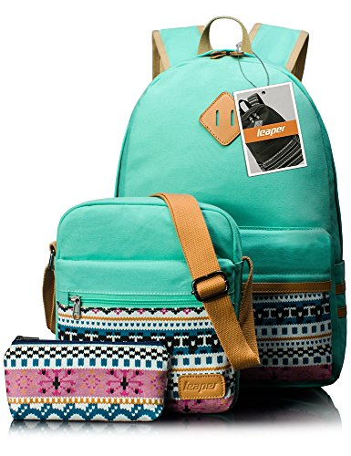 Leaper Causal Style Lightweight Canvas Laptop Bag School Backpack + Shoulder Bag + Purse Pen case (Large, Water Blue, 3pcs)
