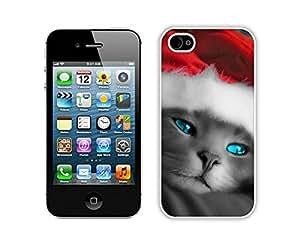 Custom Design Christmas Cat White iPhone 4 4S Case 6