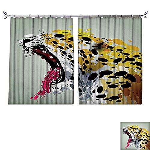 PRUNUS Waterproof Window Curtain Safari African Wild Big Cat Tiger with Dots Image Artwork Sage Green Yellow Sleep Well Blackout Curtain wuth Hook for Bedroom,W72 xL63