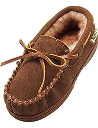 bec2fb5bd907 Toddler Little Kid Big Kid Genuine Leather Cowhide Suede Moccasin Slippers