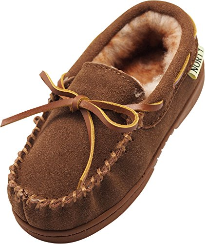NORTY - Toddler Boys Suede Moccasin Slipper, Chestnut - Slippers Indian