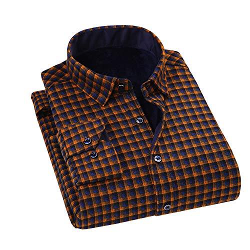 (Minghe Men's Fleece Lined Long Sleeve Flannel Shirt Thermal Checkered Shirt, (US M, Asian XXXL))