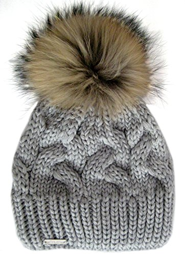 3f39d261f21 Frost Hats Warm and Soft Winter Beanie With Detachable Genuine Fox Fur Pom M -179SRN
