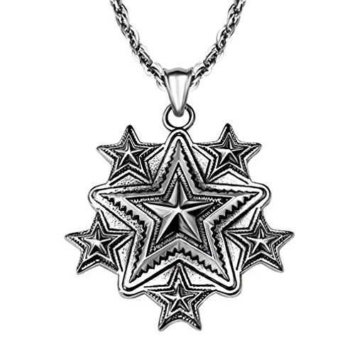 [W-Q Mens Necklace Retro Personality Five-pointed Star Titanium Steel Pendant(20