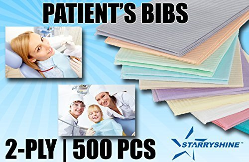 Starryshine 500 PCS Dental Patient Bibs/Napkins 2PLY w/POLY 13'' X 18'' BLUE COLOR | Premium Quality