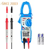 Clamp Multimeter Janisa MT100 Digital AC DC Clamp Meter Current Voltage Meters Fully Automatic Resistance Capacitance Tester 600 Amp 5999 Counts Ammeter - for Factory Home Hobby Machine Repairing