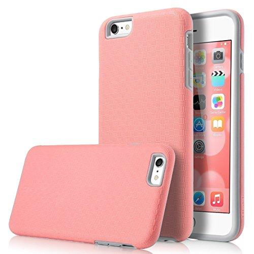 ULAK iPhone 6 Plus 5.5 Funda Case Delgado Protección Fit SLICK ARMOR doble capa Híbrido Mate Cubierta de la caja a prueba de golpes duro para Apple iPhone 6s Plus / 6s Plus de 5.5(Negro/Negro) SLICK ARMOR-rosa