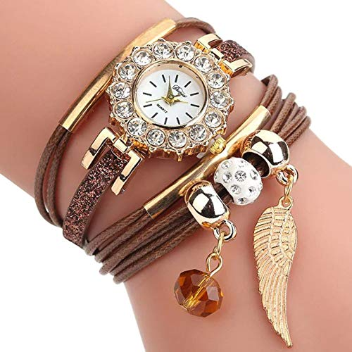 Women Luxury Angel Wing Bracelet Quartz Bling Wristwatch Rhinestone Clock Ladies Dress Gift Watches ~ Reloj de Mujer de Moda (Brown/Cafe) (Diamond Brown Diamond Cafe)