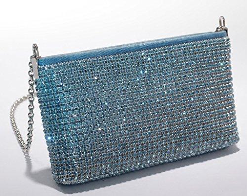 Elements Tasche hellblau Cristalls Swarovski Kristalle Clutch zeitlose hunderten besetzt Strass mit Y7w8gYqx