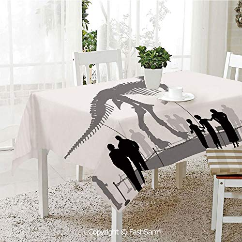 AmaUncle 3D Print Table Cloths Cover Silhouettes of People Looking at A Tyrannosaurus Rex Skeleton in A Museum Decorative Table Protectors for Family Dinners (W55 xL72)]()